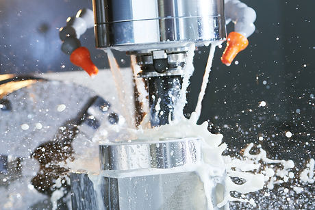 Milling metalworking process. Industrial precision CNC metal machining by vertical cutting mill with
