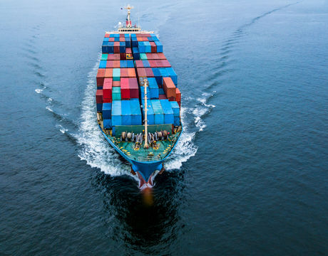 Top view of business freight import export logistic and transportation by container cargo ship, shot