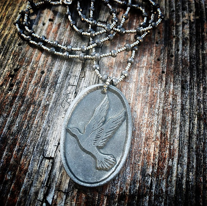 VINTAGE PEWTER PEACE DOVE NECKLACE