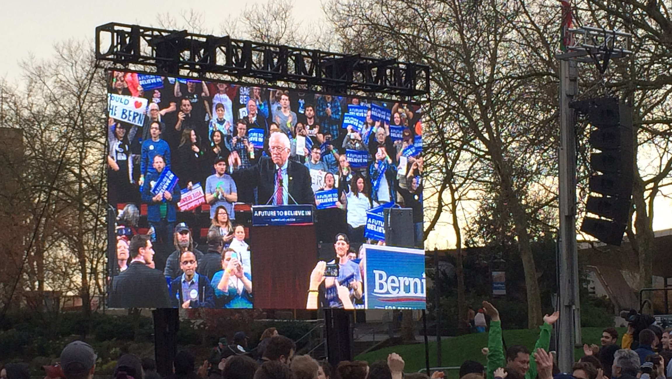 Bernie Sanders LED video wall
