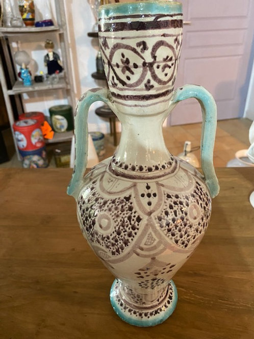 Vase beige motif peint