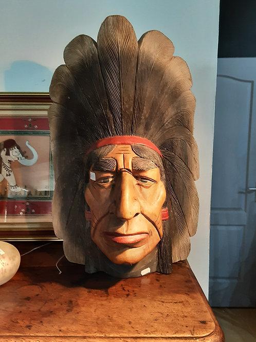 Sculpture en bois tête d'indien