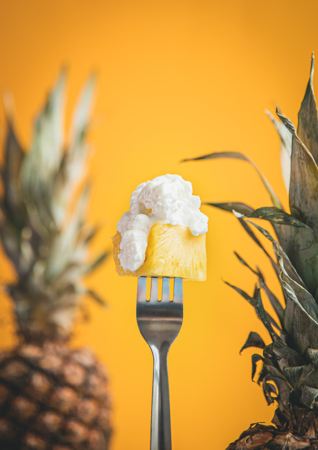 Pineapple with Cottage Cheese, Food Phot