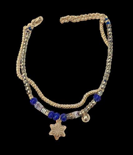 bracelet double étoile lapis lazuli