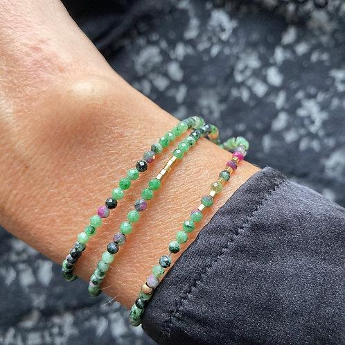bracelet 3 rangs Unakite