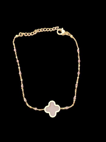 bracelet trèfle rose