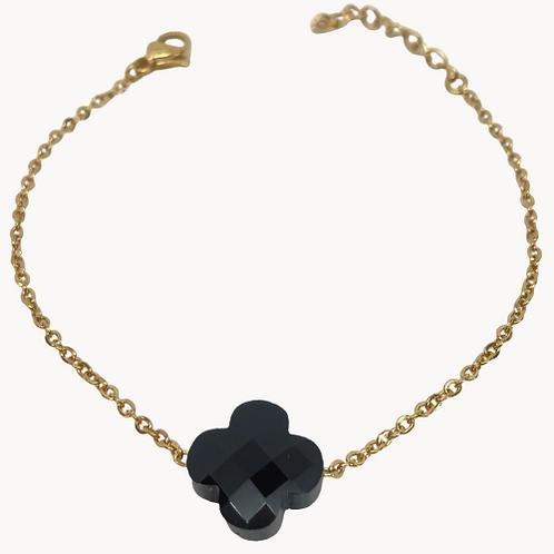 Bracelet Trèfle résine noir