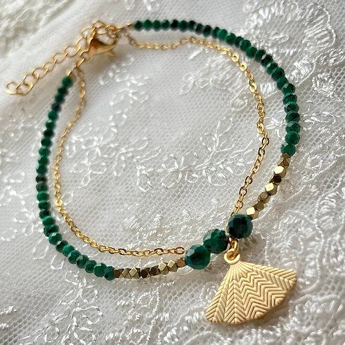 bracelet double Eventail Malachite