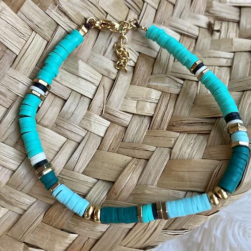 bracelet surf turquoise/vert