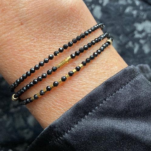 bracelet 3 rangs Cristal noir