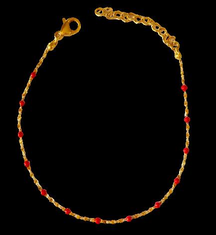 bracelet perles de résine rouge