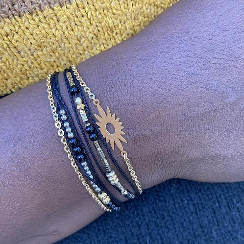 Bracelet multirangs Soleil Onyx