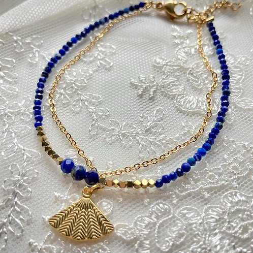 bracelet double Eventail Lapis Lazuli