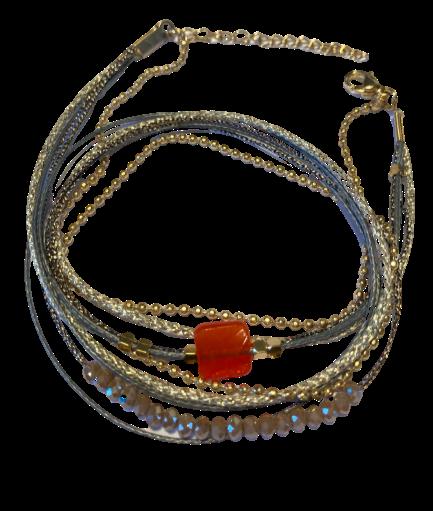 bracelet multirangs cristal Carré orange