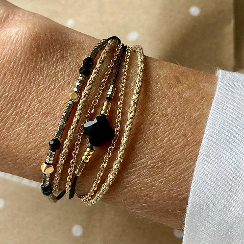 bracelet multirangs Trèfle Onyx