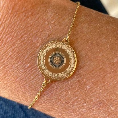 bracelet médaille fleur