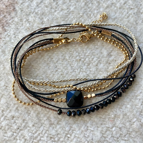 bracelet multirangs onyx Carré Noir