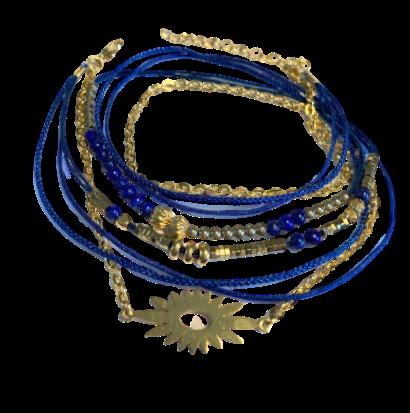 bracelet multirangs soleil lapis lazuli