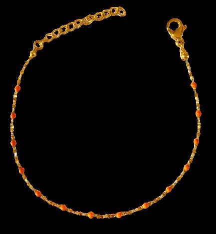 bracelet perles de résine orange
