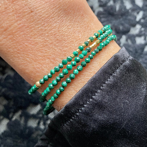 bracelet 3 rangs Malachite
