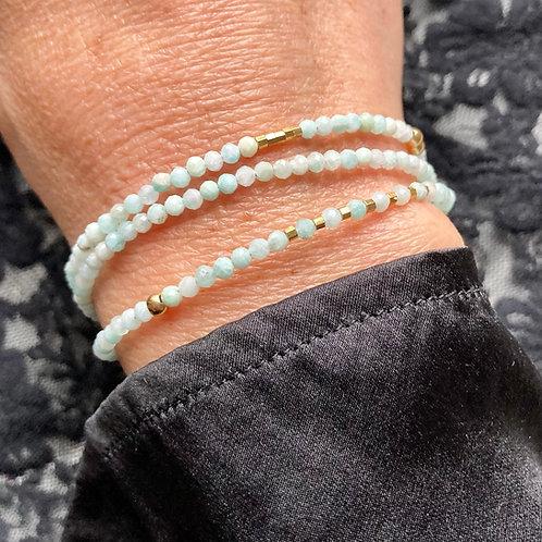 bracelet 3 rangs Aigue-Marine