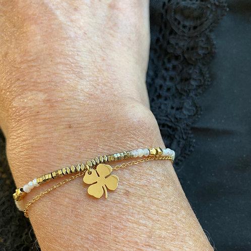 bracelet double Trèfle Cristal blanc