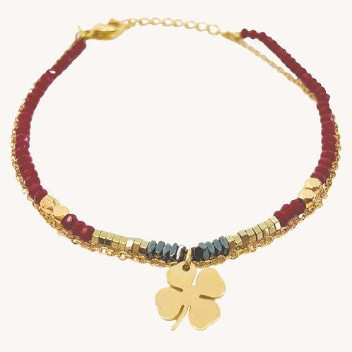 bracelet double Trèfle Cristal rouge