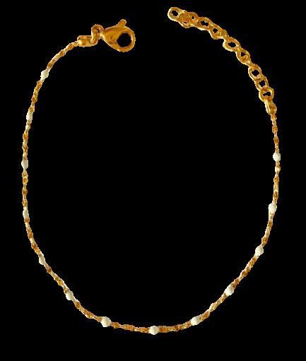 bracelet perles de résine blanc
