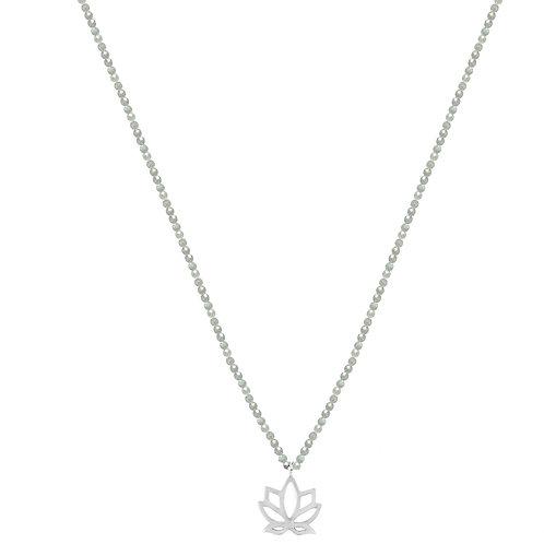 Yoga lotus and gemstone necklace