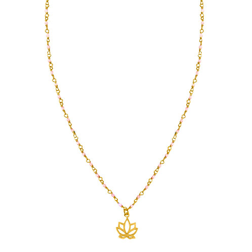 Spiritual lotus gold plated with rose quartz choker necklace