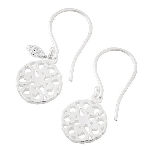 Handmade silver yoga mandala earrings