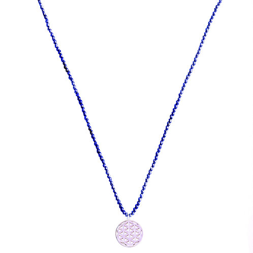 Handmade yoga spiritual lapis silver gemstone necklace jewelry