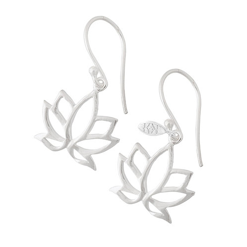spiritual silver lotus earrings