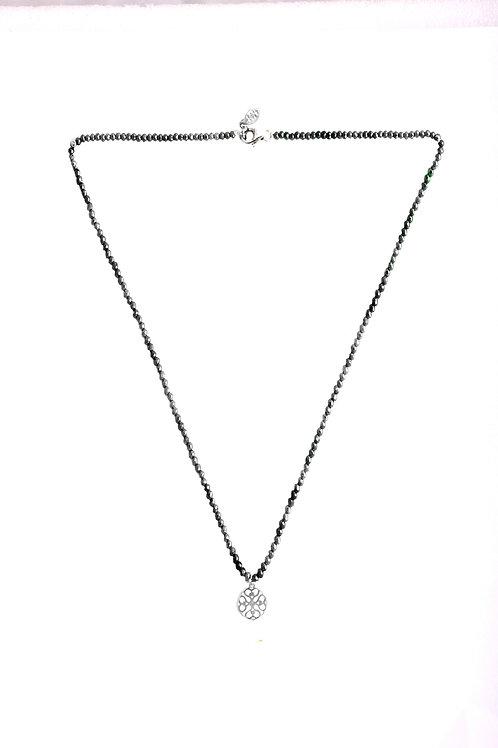 Yoga silver mandala necklace with gemstones
