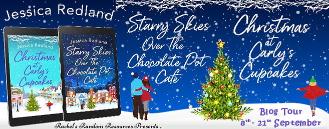 Starry Skies Over The Chocolate Pot Café and Christmas at Carly's Cupcakes Banner
