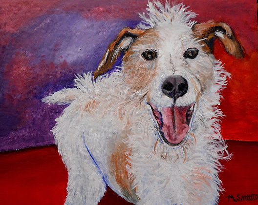 "Happy Dog -5"" by 7"" Original Acrylic"