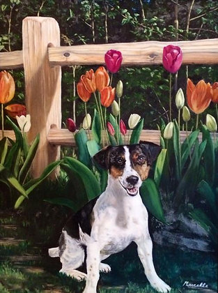 Posing in the Tulips Greeting Card