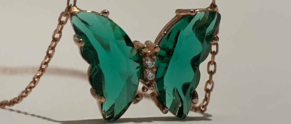 Gümüş Yeşil Cam Kelebek Kolye 129,00 TL