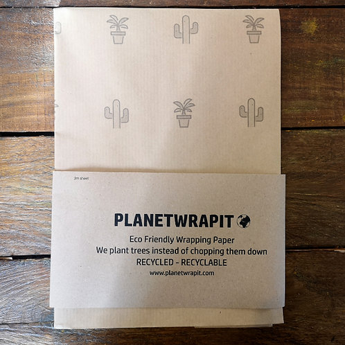 PlanetWrapIt - Wrapping Paper - Brown House Plants