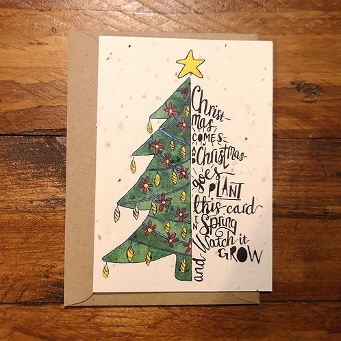 Christmas Tree Card on - plantable flower paper