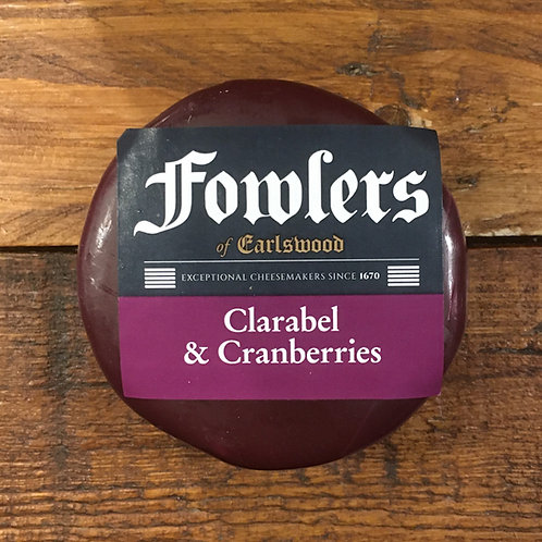 Fowlers Clarabel & Cranberries Waxed Truckle cheese (200g)