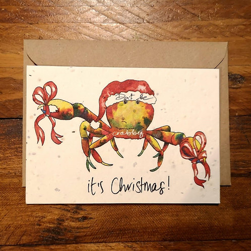 Christmas Crab Card on - plantable flower paper