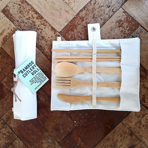 Bamboo Cutlery set with straw/cleaner in carry pouch