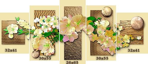 טריפטיך. אדמה, פרחים, קוסמוס.5  חלקים