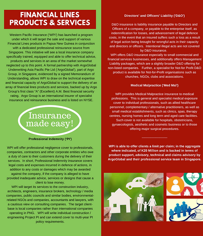 Western Pacific Insurance Financial Lines, Products & Services