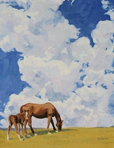 Mare & Colt in the Clouds