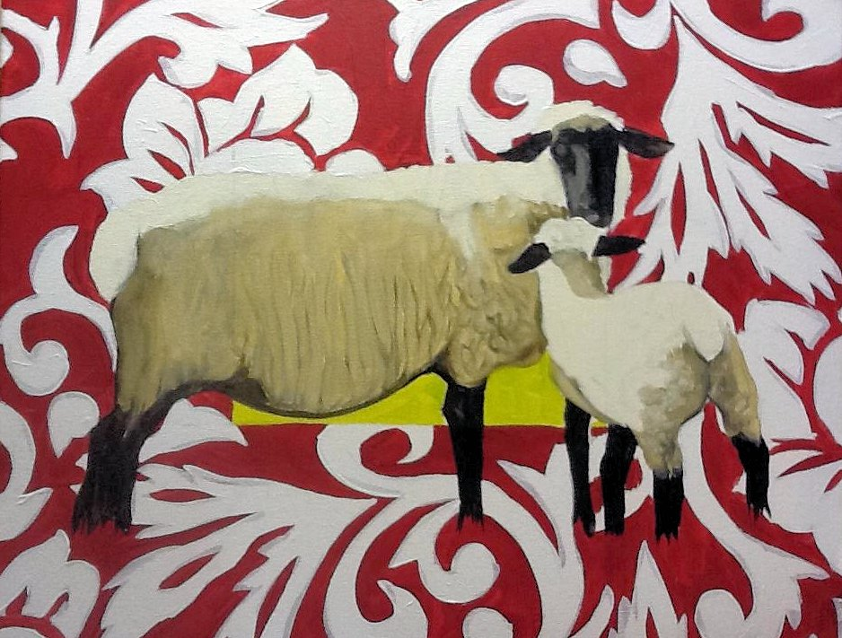 Black-Faced Sheep, Red Background