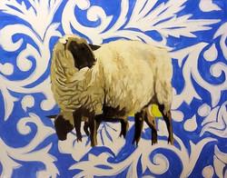 Black-Faced Sheep, Cobalt Background
