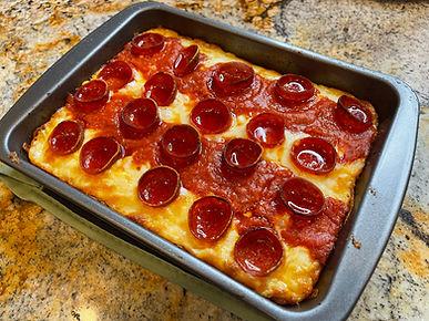 Real Keto Detroit Style Pepperoni Pizza