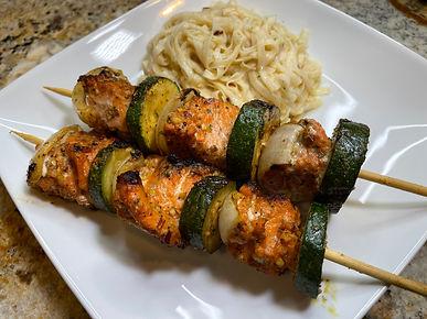 Keto Salmon Kebobs w/ Healthy Noodles